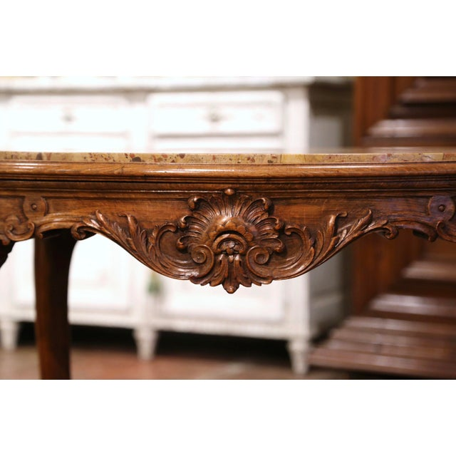 Late 19th Century 19th Century French Louis XV Carved Oak Side Table With Beige Marble Top For Sale - Image 5 of 13