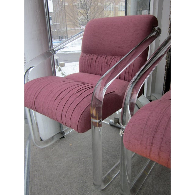 Mid-Century Modern 1970s Lucite Hollywood Regency Style Chairs-a Pair For Sale - Image 3 of 12