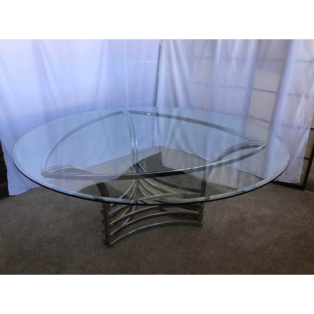 1980s Round Glass & Chrome/Brass Triangular Shape Dining Table For Sale - Image 12 of 13