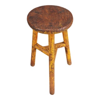 Distressed Painted Yellow Stool For Sale