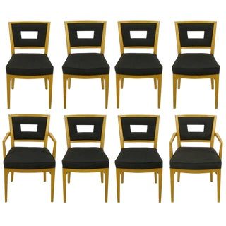 Set of Eight White Oak and Black Flannel Keyhole Back Dining Chairs For Sale