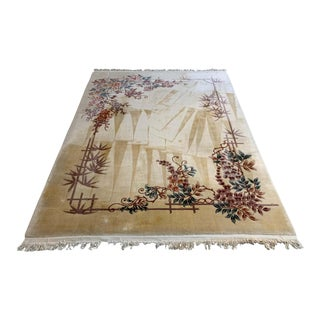 Art Deco Peking Oriental Chinese Area Throw Rug Hand Knotted Wool For Sale