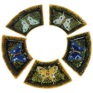 Late 19th Century Austrian Majolica Butterfly Dishes- Set of 5 For Sale
