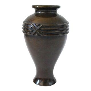 Antique Japanese Bronze Modernist Ikebana Vase For Sale