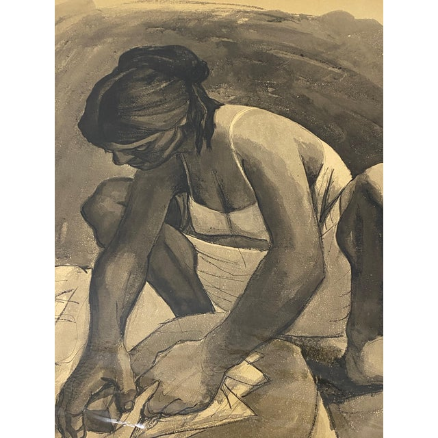 """Mid Century Modern Watercolor """"Washing Clothes"""" Puerto Vallarta by Daniel C.1957 For Sale - Image 9 of 9"""