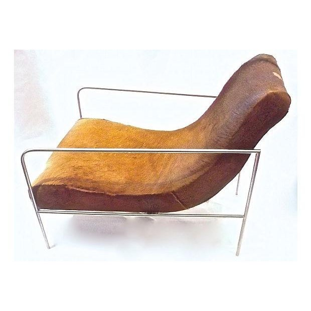 Art Deco Style Cow Hide Upholstered Club Chair - Image 4 of 8