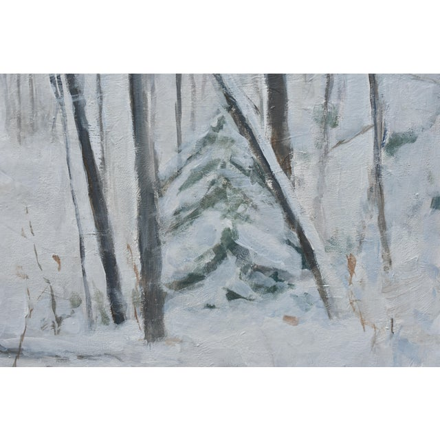 Paint Stephen Remick Snowy Hillside Contemporary Painting For Sale - Image 7 of 13