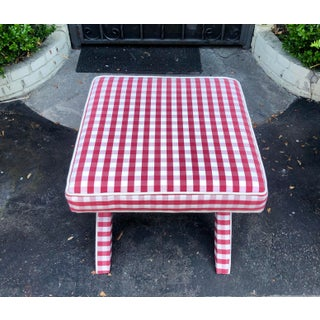 Vintage French Country Red Check Fully Upholstered X Bench Preview