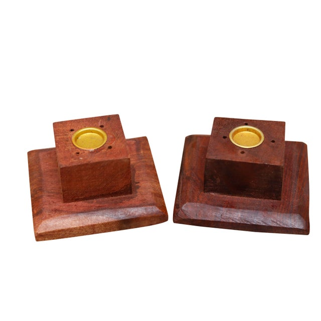 2010s Wooden Incense Burner Towers With Brass Star Inlay, a Pair For Sale - Image 5 of 6