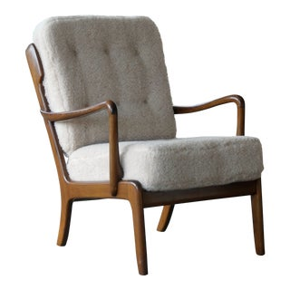 Danish Midcentury Easy Lounge Chair With Lambswool Made by Edmund Jorgensen For Sale