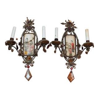 C1850 Antique Maison Bagues Paris Signed Chinoiserie Sconces Art Painted on Antique Ivory Panels - a Pair For Sale