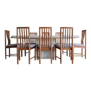 Organic Modern Italian Travertine Dining Table+ 8 Danish Modern Teak Dining Chairs - Set of 9 For Sale