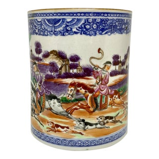 18th Century China Trade Porcelain Hunt Theme Cup or Beaker For Sale