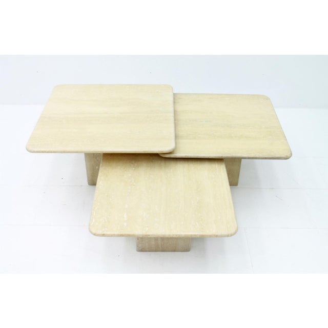 Set of Three Italian Travertine Side Tables 1970s For Sale - Image 6 of 13