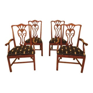 Henredon Salem Cherry Chippendale Dining Chairs - Set of 4 For Sale
