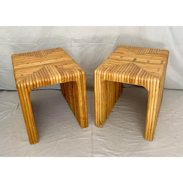 Vintage Split Reed Rattan Waterfall End Tables- a Pair For Sale - Image 13 of 13