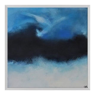 Blue and White Original Abstract on Canvas by C. Damien Fox For Sale