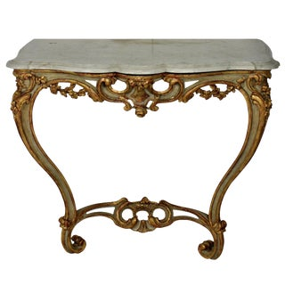 A French Serpentine Painted & Gilded Console For Sale