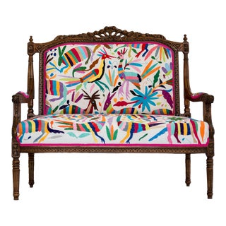 Otomi Hand Embroidered Louis XVI Settee For Sale