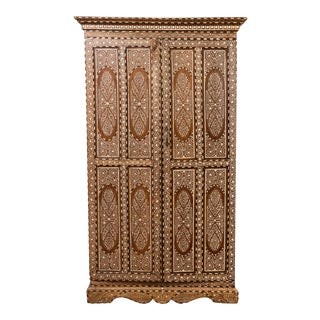 Vintage Anglo Indian Bone Inlaid Wardrobe Cabinet with Ebonized Accents For Sale
