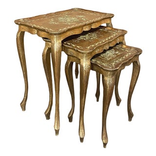 Italian Florentine Hand-Painted Nesting Table Set For Sale
