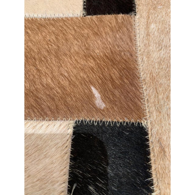 Cowhide Geometric Patchwork Cowhide Area Rug For Sale - Image 7 of 13
