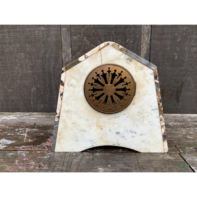 French Art Deco Marble Mantle Clock For Sale - Image 6 of 12