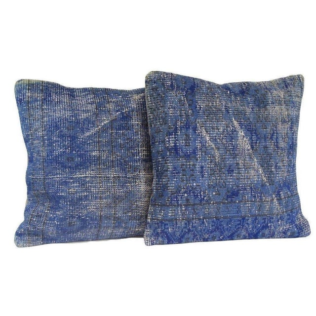 Blue Handmade Over-Dyed Rug Pillow Covers - A Pair - Image 1 of 4