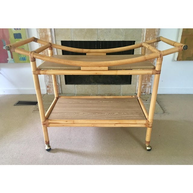 Mid-Century Bamboo Bar Cart For Sale - Image 10 of 10