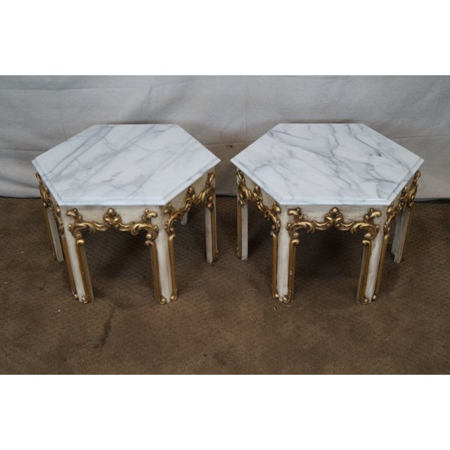 Hollywood Regency Partial Gilt Side Tables - Pair - Image 5 of 10