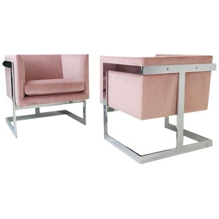 Pair of Milo Baughman Floating Cube T-Back Lounge Chairs For Sale
