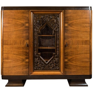 Walnut and Oak Three-Door Armoire From Germany, 1930s-1940s For Sale