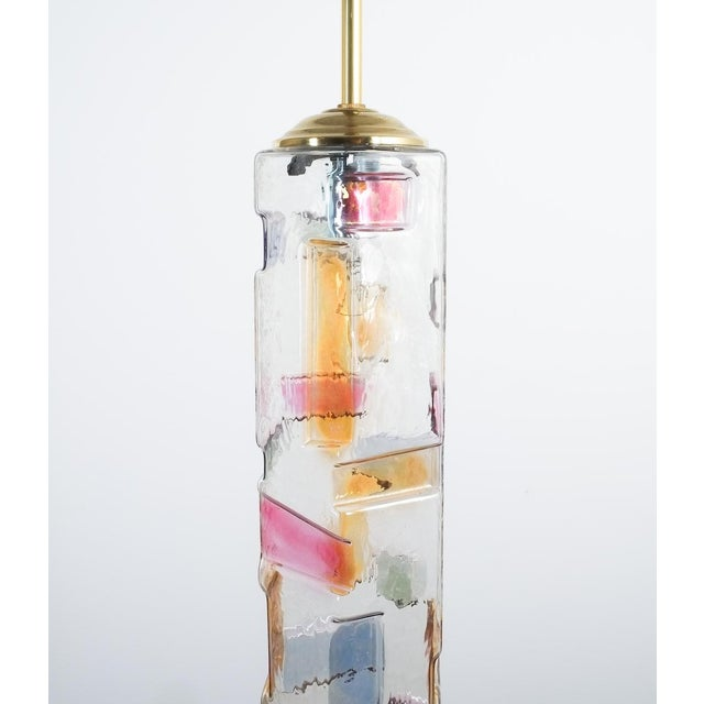 Pair of colored glass pendant lamps style Poliarte, Italy, circa 1955. Nice pair of slender glass hexagonal tubes with...
