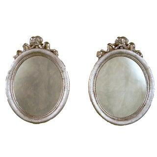 Louis XVI Style 1950 Silver Leaf Mirrors - A Pair