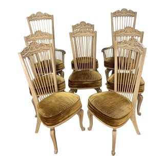 Mid-20th Century Raymond Enkeboll La Condesa High Spindle Back Side Chairs- Set of 8 For Sale