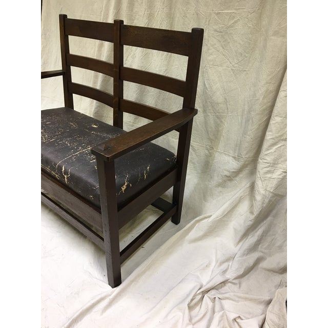 Brown Mission Arts & Crafts Oak Settee For Sale - Image 8 of 9