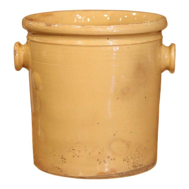 19th Century French Glazed Terracotta Kitchen Utensils Pot For Sale