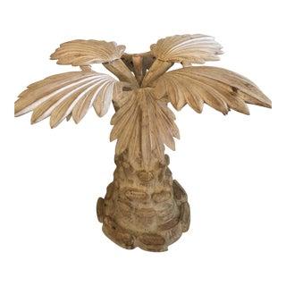 Vintage Hollywood Regency Italian Wood Carved Palm Tree Leaf Table Base For Sale