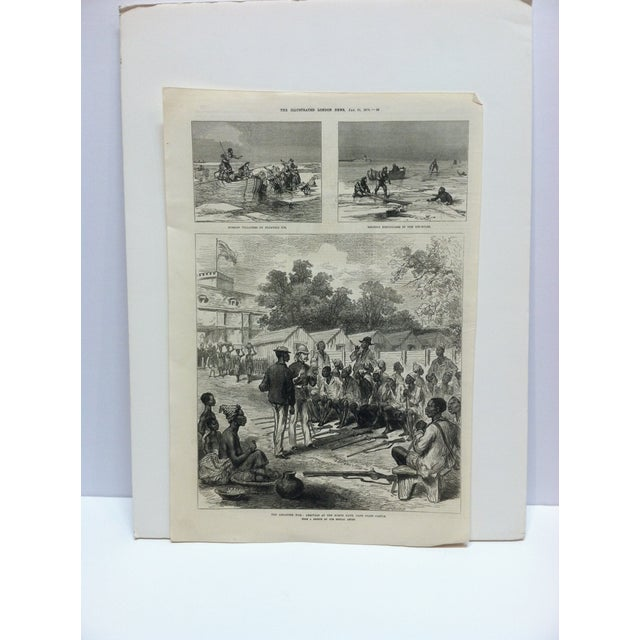 "Mid 19th Century 1874 Antique Illustrated London News ""The Ashantee War: Arrivals at the North Gate - Cape Coast Castle"" Print For Sale - Image 5 of 5"