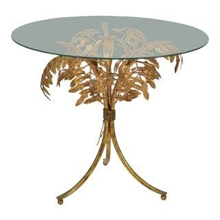 Gold Gilt Italian Tole Side Table Palm Tree Base Glass Top