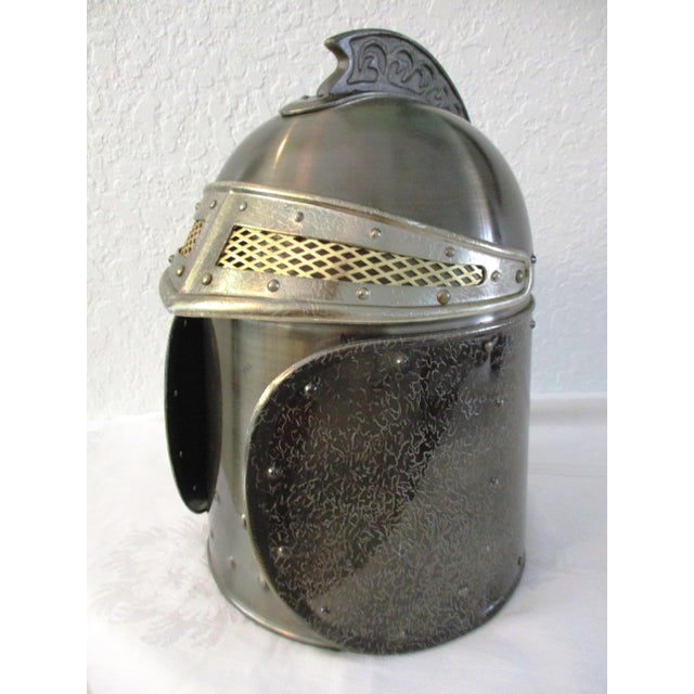 Way cool retro Seymour Mann pewtertone-metal knight helmet ice bucket with gold-tone-metal screened eye guard and white...