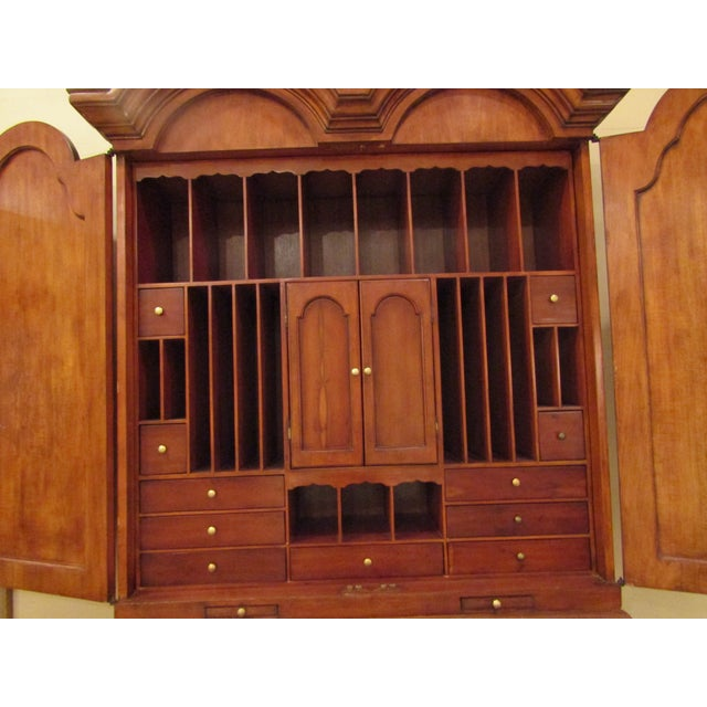 1940s English Traditional Tall Secretaire Cabinet With Slant Front Writing Desk For Sale In West Palm - Image 6 of 8