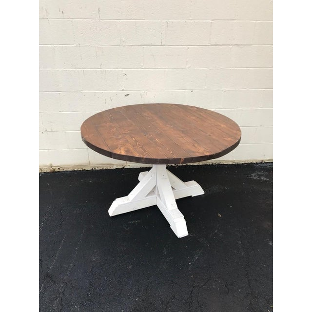 Rustic Walnut Round Farm Table For Sale In Atlanta - Image 6 of 6