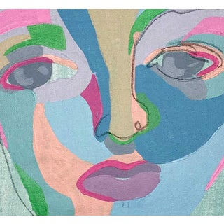"""Contemporary Abstract Portrait Painting """"What a Sweet Soul, No. 2"""" - Framed Preview"""