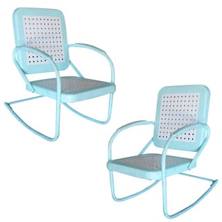 Mid-Century Woodard Style Steel Garden Rocking Chair- A Pair For Sale