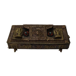 Chinese Metal Rectangular Beads Dimensional Motif Incense Burner Container For Sale
