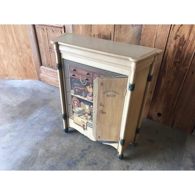 "Palladio 20th Century Italian Palladio ""Trompe L'oeil"" Hand Painted Wood Cabinet For Sale - Image 4 of 13"