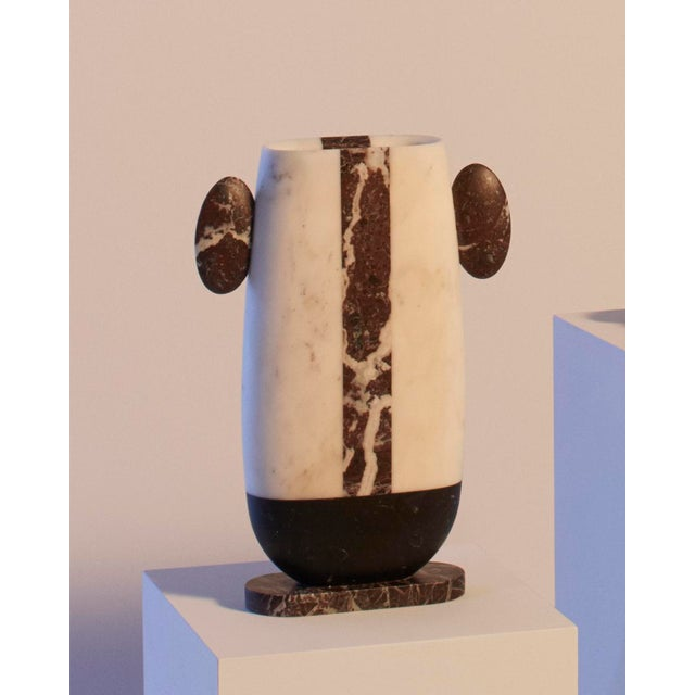 Italian Vase in Red White and Black Marble by Matteo Cibic, Made in Italy For Sale - Image 3 of 10