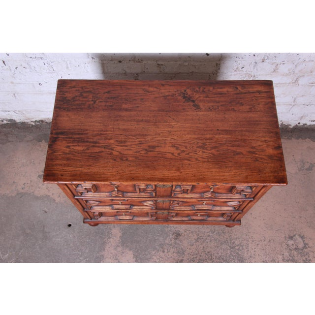 Brass Antique Carved Oak Three-Drawer Bachelor Chest For Sale - Image 7 of 12