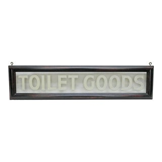"Vintage Etched Glass ""Toilet Goods"" Sign For Sale"